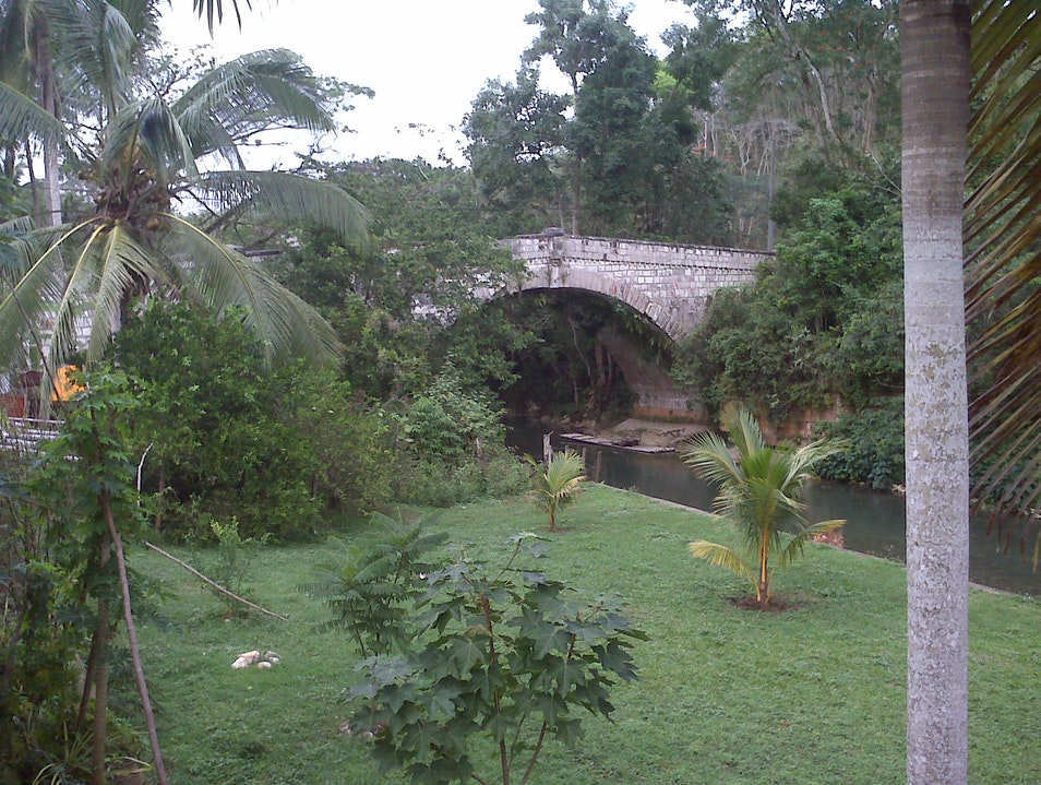 185 year old bridge spanning river used for rafting. Lethe  Jamaica