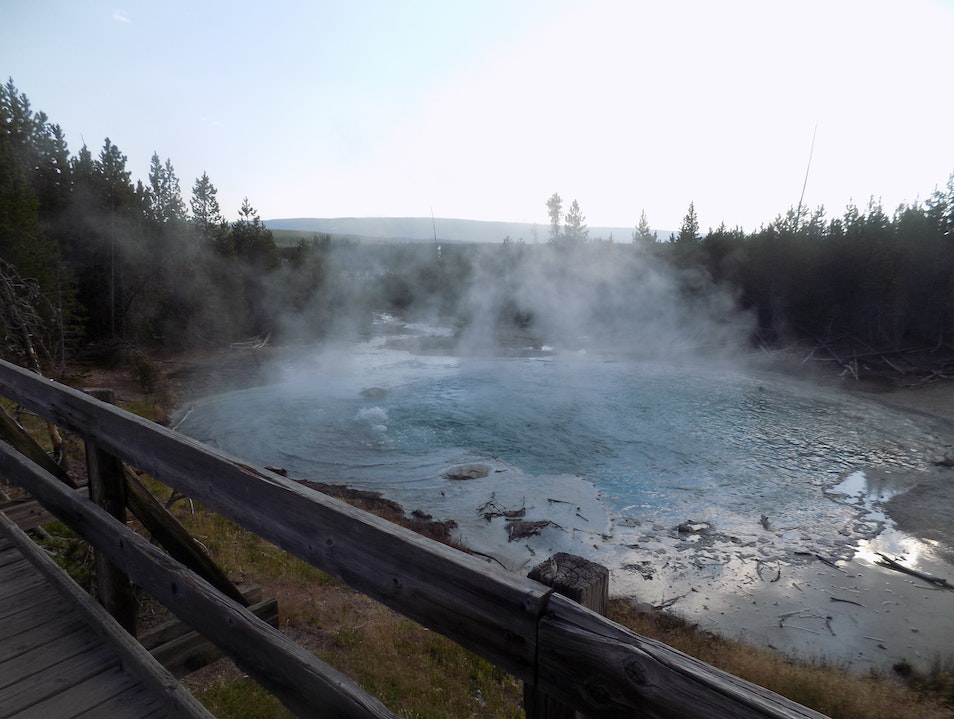Explore the hot geysers Yellowstone National Park Wyoming United States
