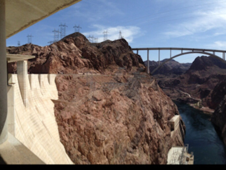 Straddle state lines at Hoover Dam