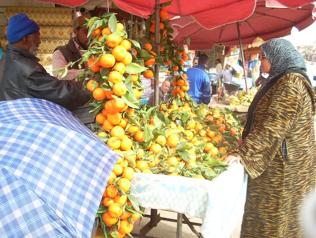 Mid-day shopping in Meknes