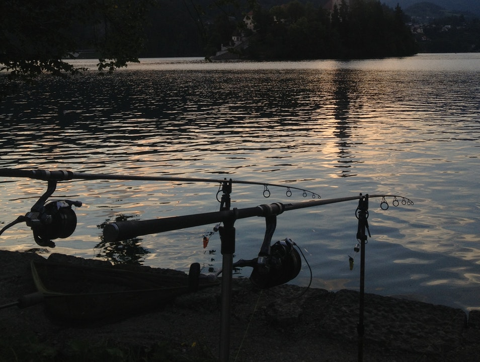 Sunset Fishing on Lake Bled Bled  Slovenia