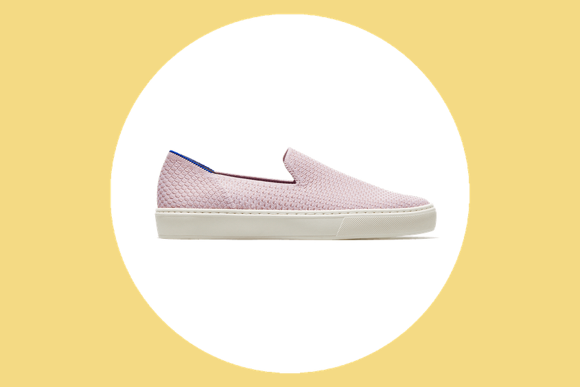 Rothy's slip-ons come in a variety of colors including this light lilac-gray seen here.