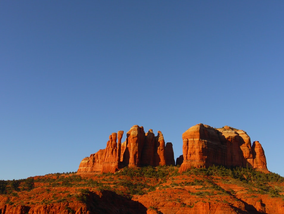 Rising with the Sun above the Cathedral Rocks