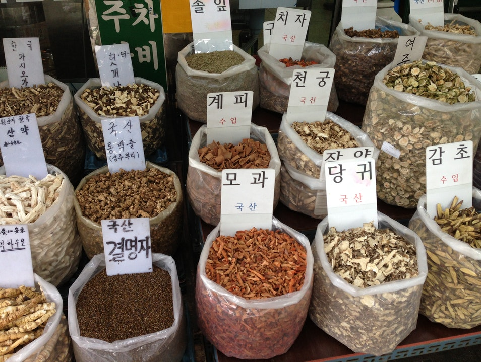 Exploring local wellness practices at Gyeongdong Market  Seoul  South Korea