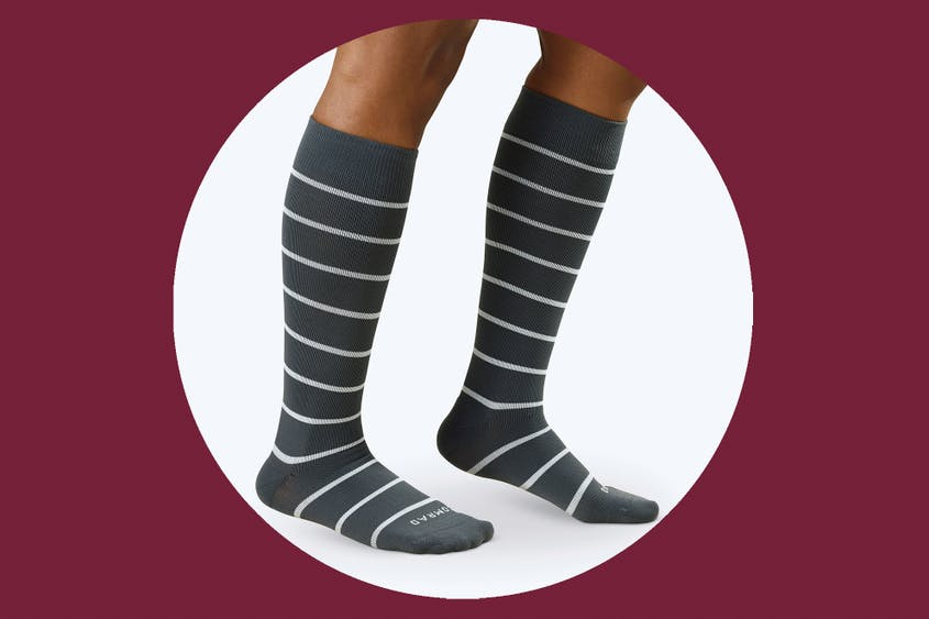 Comrad knee-high compression socks in charcoal/white stripes