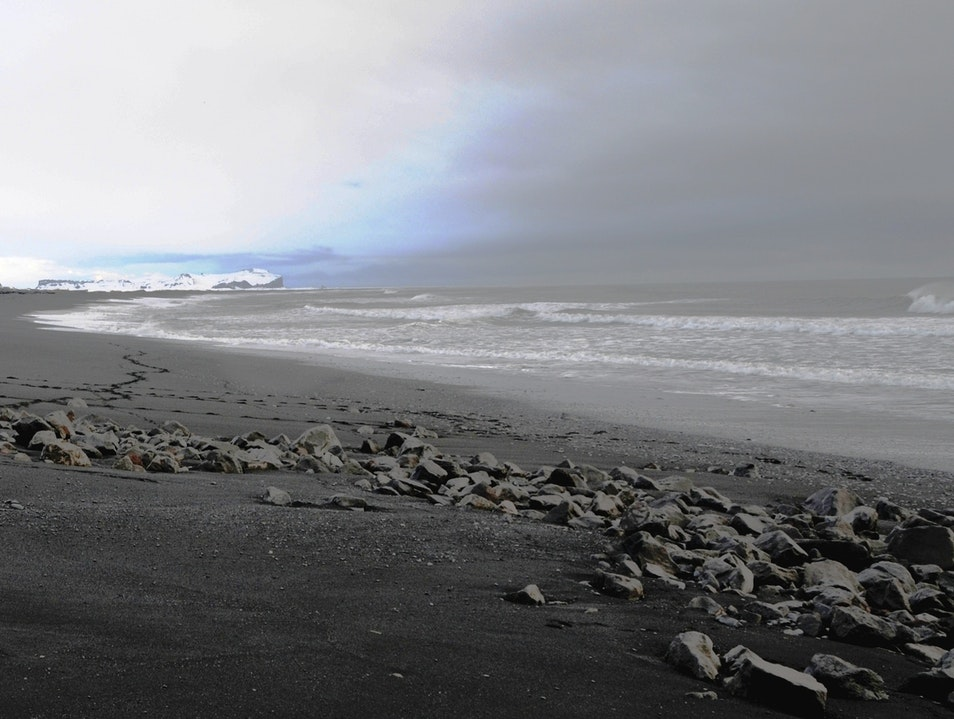 Black and White Beach South  Iceland