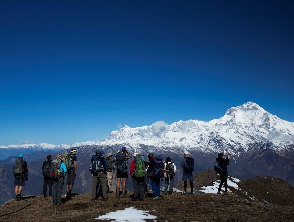 The view from Kopra Ridge in the Annapurna region Khangsar  Nepal