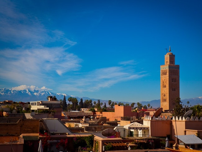 Koutoubia minaret and High Atlas view, Marrakesh
