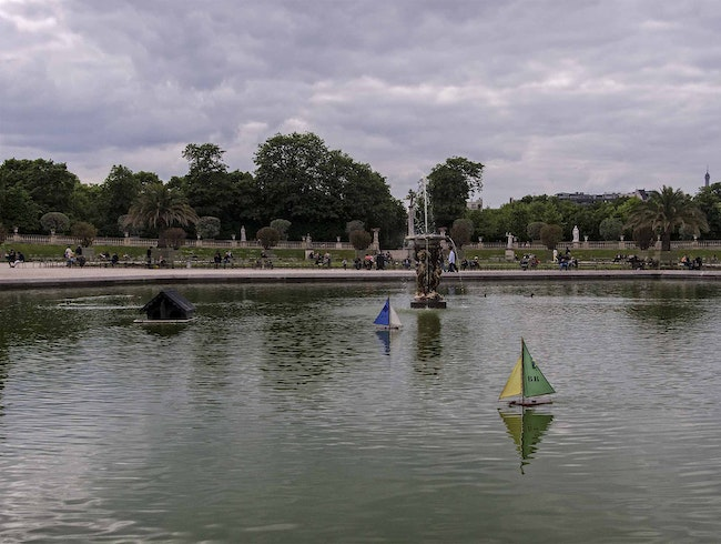 Toy Sailboats at the fountain in Luxembourg Gardens