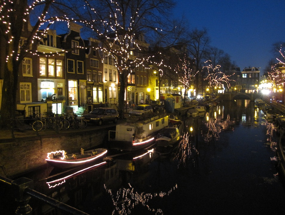 Walking Through Reflections of Light in Amsterdam