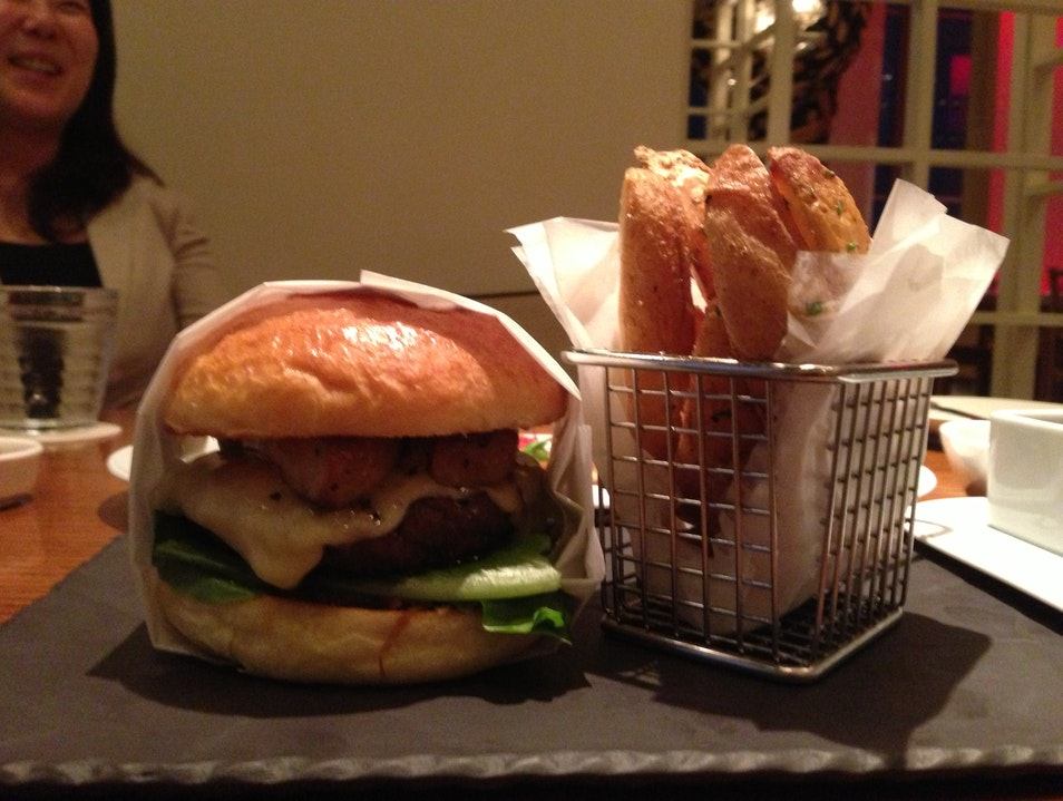 Eating the X burger at the W  Seoul  South Korea