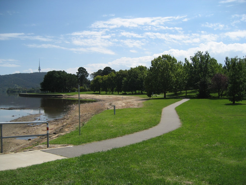Biking around the lake Canberra  Australia