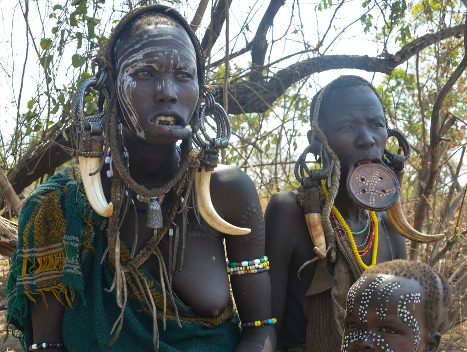 A traditional Mursi tribal village in Mago National Park