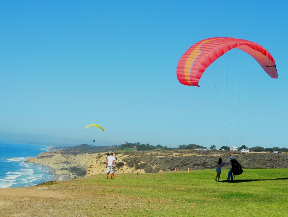 Gliding over the La Jolla cliffs in San Diego