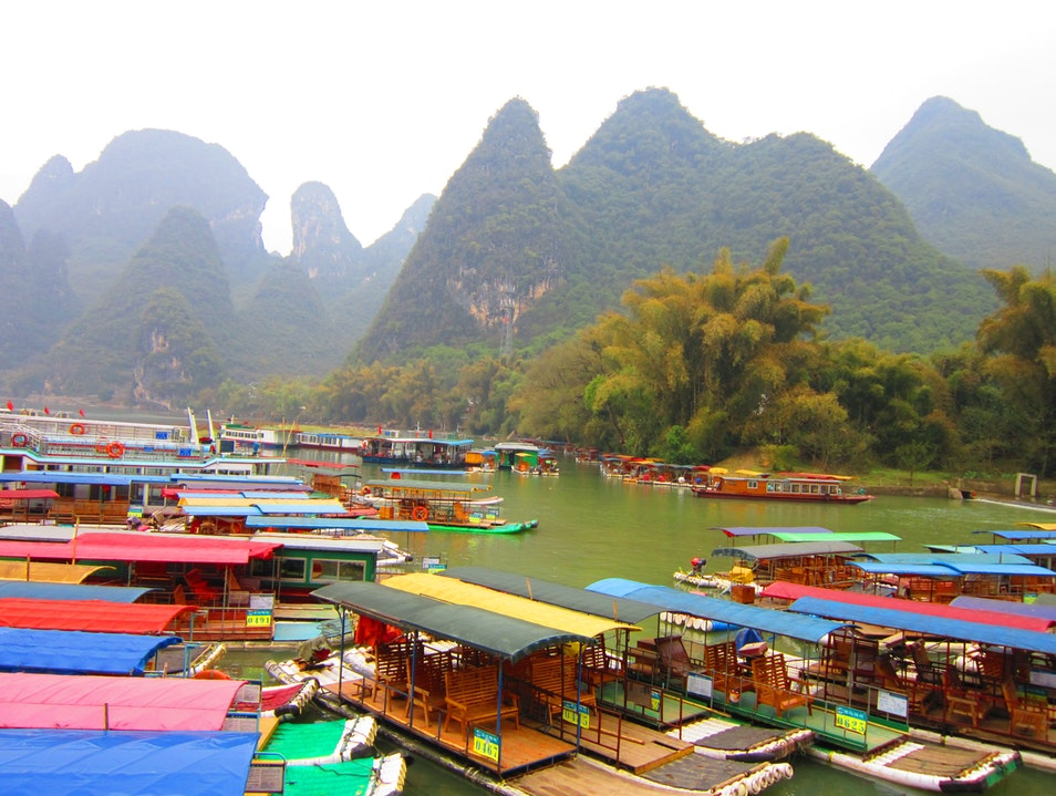 Bamboo Rafting Down the Li River Guilin  China