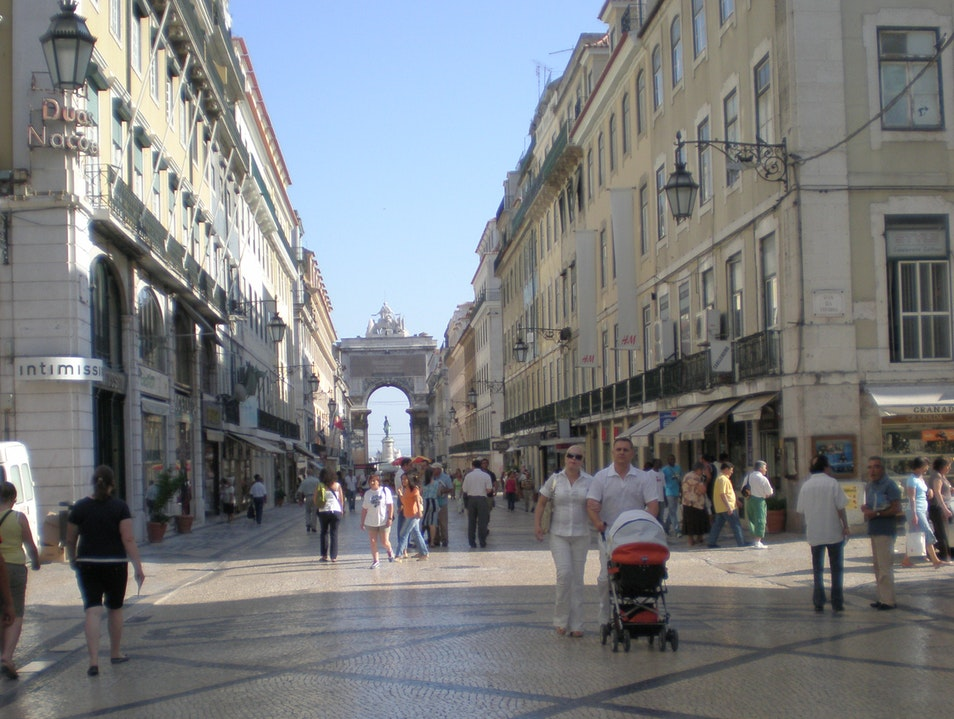 Having Fun While Strolling and Shopping on Rua Augusta Lisbon  Portugal