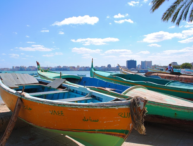 Beached Boats along Alexandria's Corniche