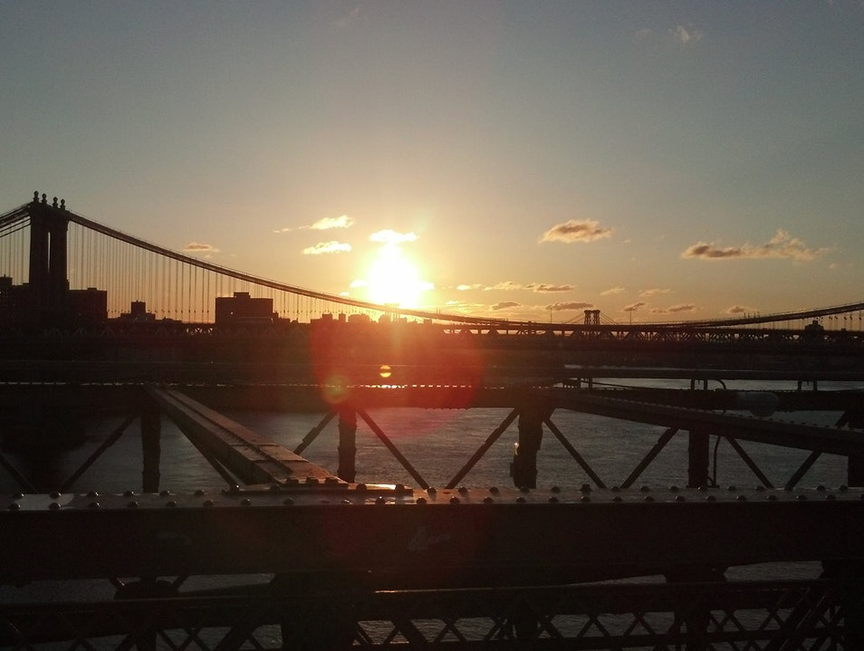 Sunrise on the Brooklyn Bridge New York New York United States