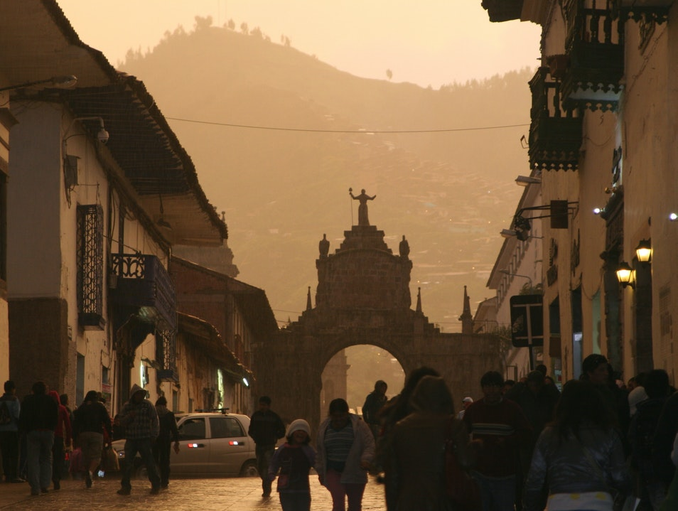Cusco in the rain at sunset