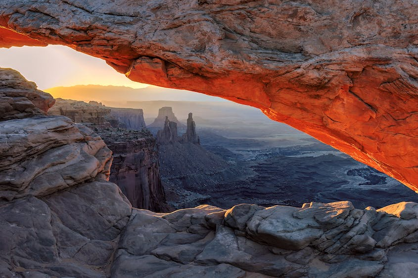 In Canyonlands National Park, Mesa Arch is a popular spot for sunrise photographers.