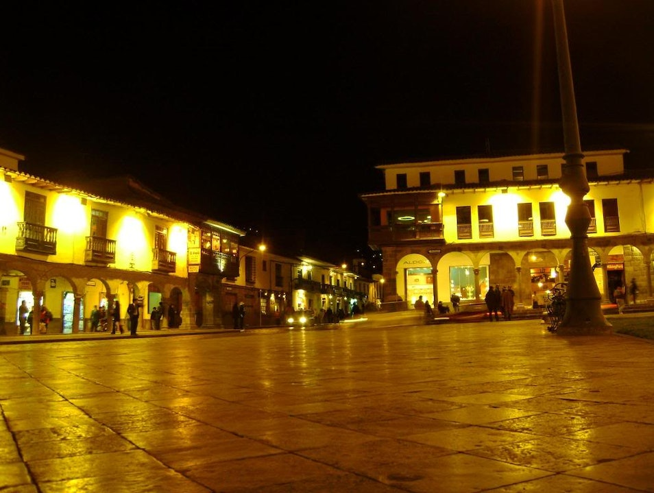 Nightlife in Cusco's Main Plaza  Cuzco  Peru