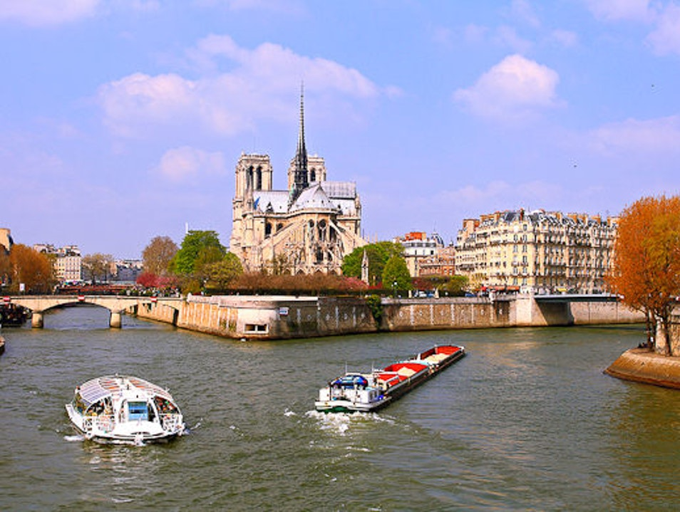 Drinking in the View of Notre Dame on La Seine Riverbank Paris  France
