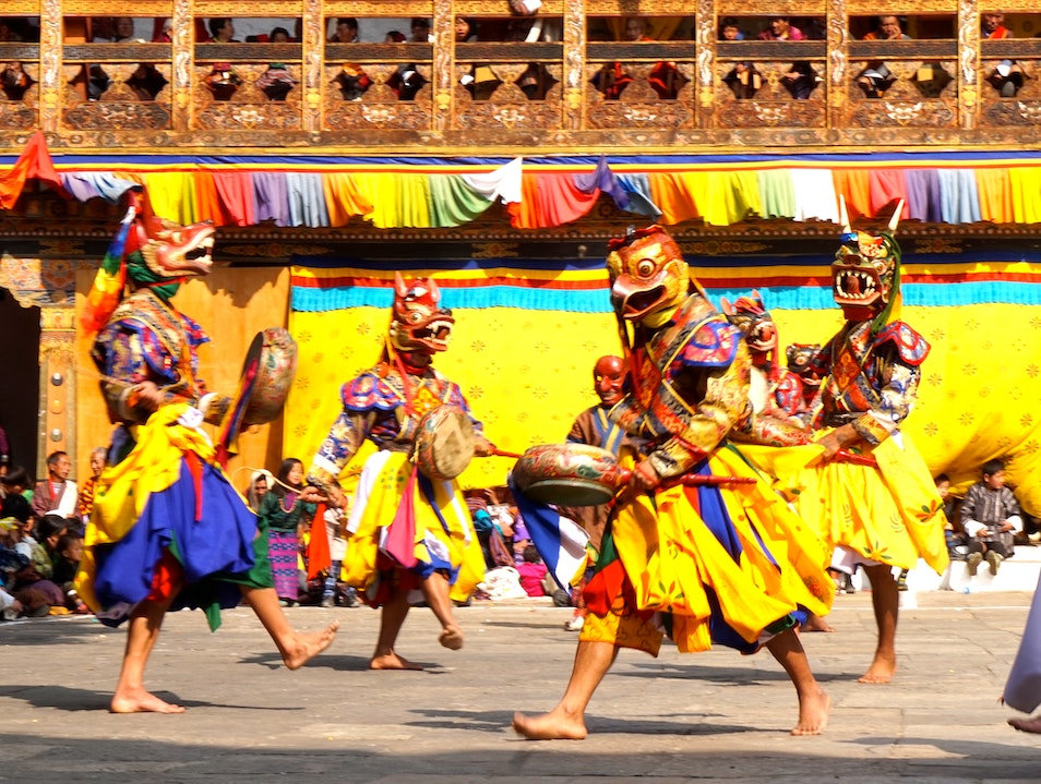 Get blessed during the colorful Punakha Festival Punakha  Bhutan