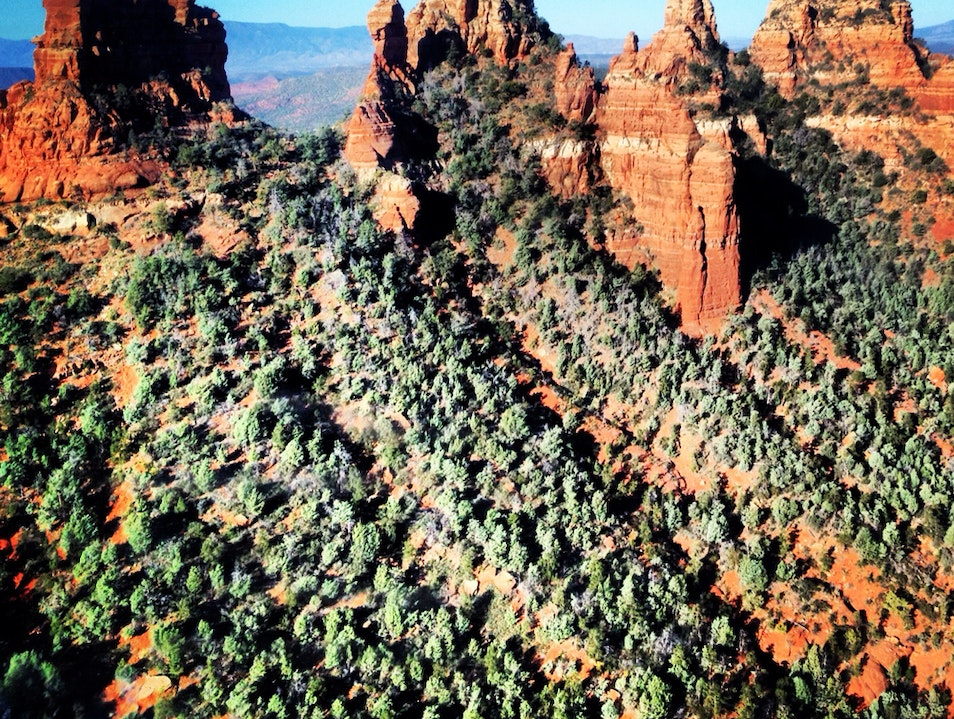 Red Rocks as seen from the air during Helicopter Tour Sedona Arizona United States