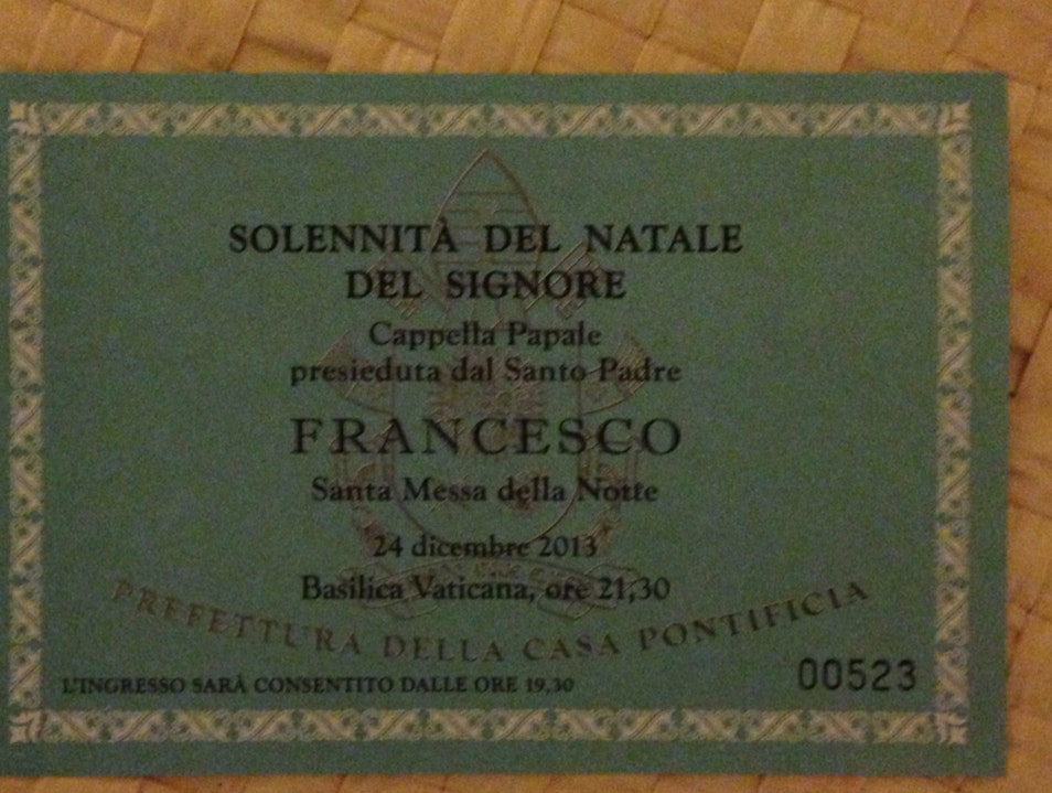 Ticket To Christmas Mass At St Peter's Basilica Rome  Italy