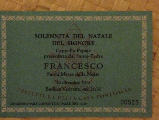 Ticket To Christmas Mass At St Peter's Basilica