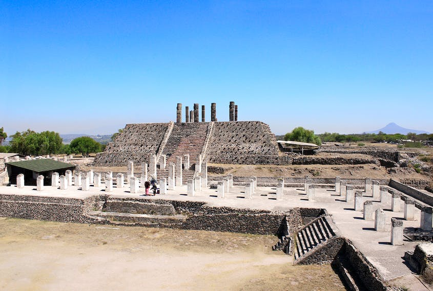 The Pyramid of Quetzalcoatl in Tula is topped with imposing statues of Toltec warriors.