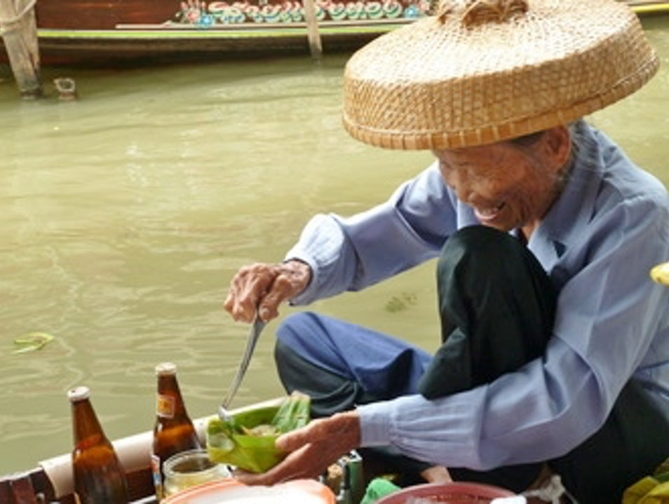"Floating market outside of Thailand....try her ""dumplings"" - fantastic!!! ตำบล ดำเนินสะดวก  Thailand"