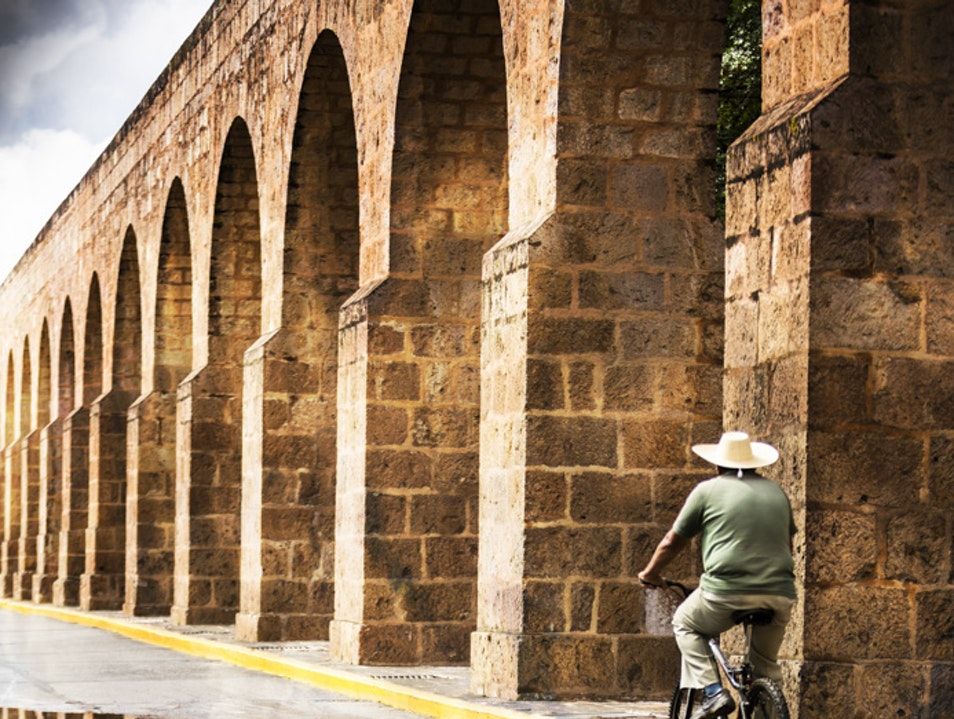 Sunday cycling along the Morelia aqueduct Morelia  Mexico