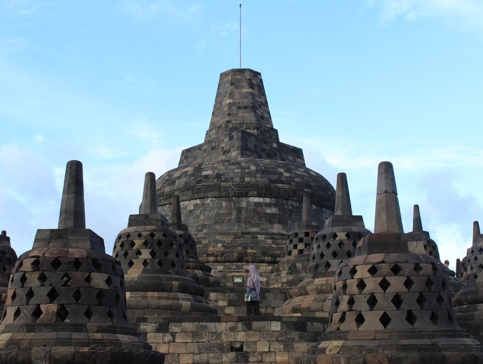 Watching the sunrise at Borobudur Temple Borobudur  Indonesia