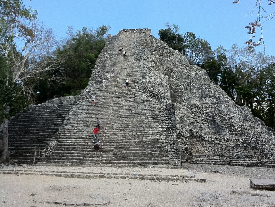 Climbing the ruins at Coba Tulum  Mexico