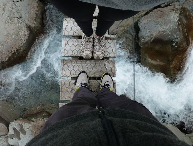 Standing on my first suspension bridge in New Zealand's South Island
