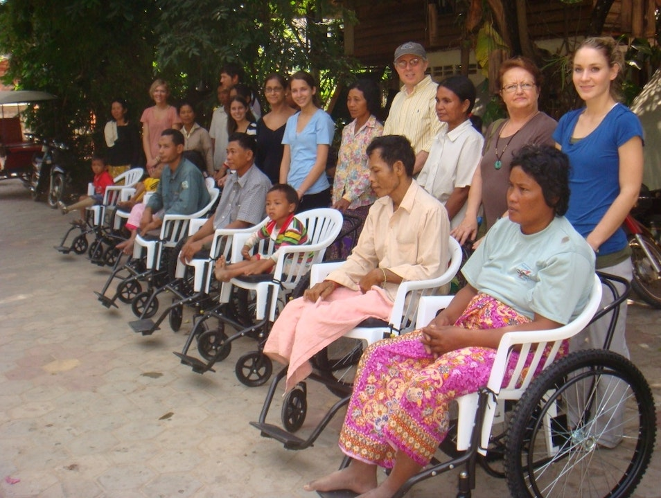 Building wheelchairs for landmine victims Siem Reap  Cambodia
