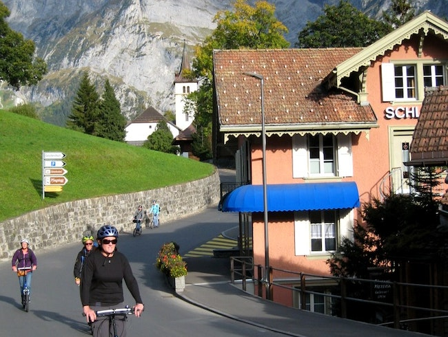 Whizzing Down a Swiss Mountain on a Trottibike Scooter