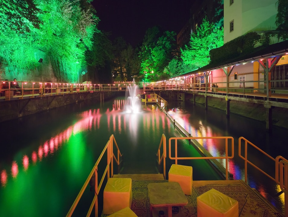 A Technicolor Pool Party Along the Old City Wall Zurich  Switzerland