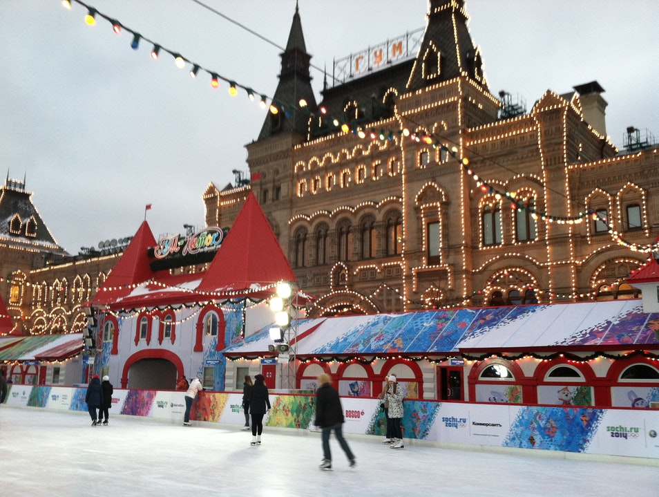 Ice Skating at Red Square Moscow  Russia