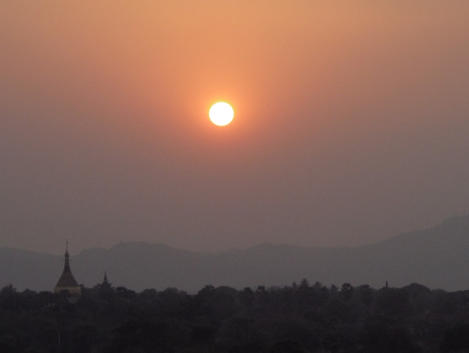 Red sunset over the plains of Myanmar.