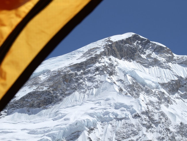 Everest from my tent at Base Camp