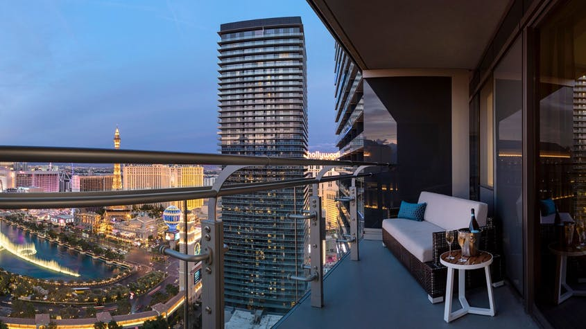 Enjoy the open air of The Cosmopolitan's unrivaled terrace rooms, with sweeping views of the Strip.