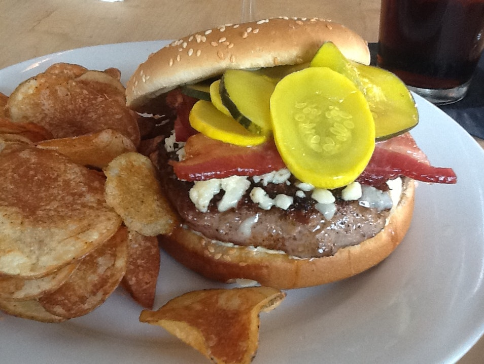 Burger at Toups w /Pickled Squash, Bacon and Blue Cheese