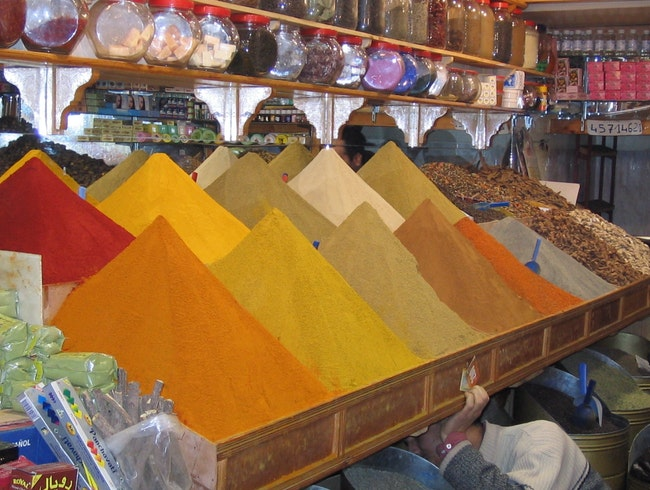 Colorful spices in Marrakech Souk