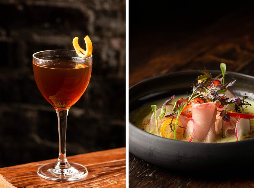 California and the Mediterranean are sources of inspiration that inform bites at Fia like yellowtail in tiger's milk.