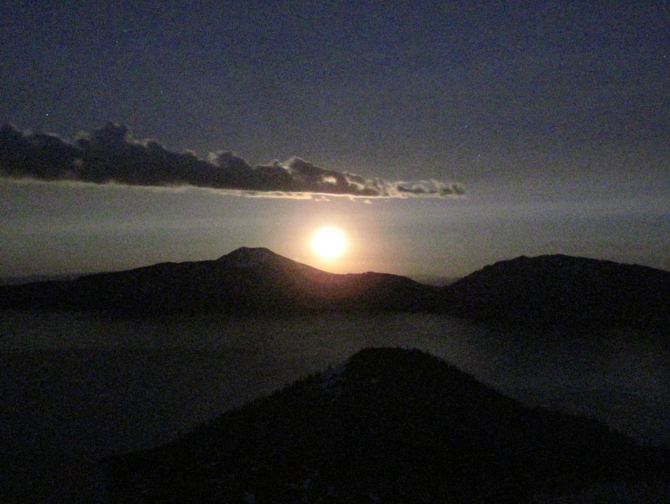 Ever see a moon rise? Crater Lake Oregon United States