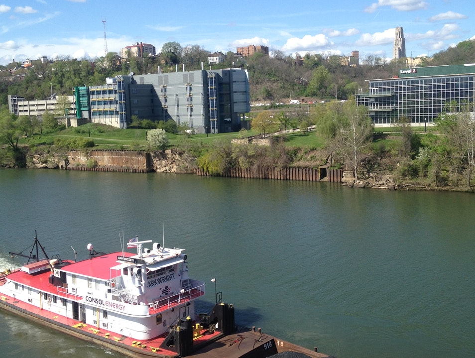 Barge along the the Monongahela River Pittsburgh Pennsylvania United States
