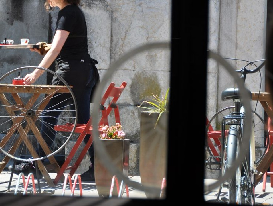 Bicycle and coffee Lisboa  Portugal