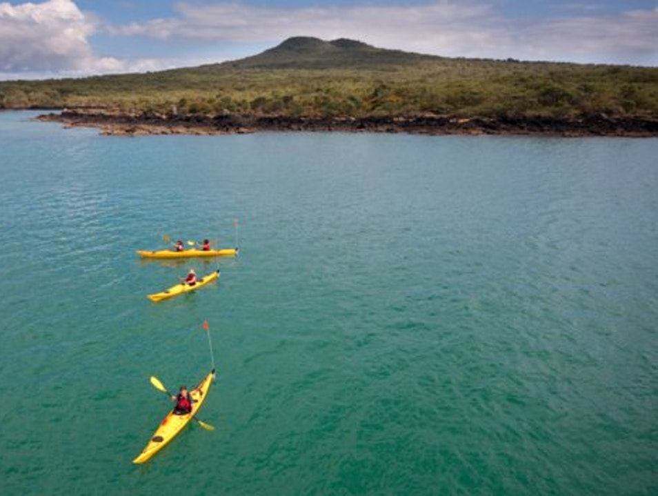 Kayaking to a Volcano Auckland  New Zealand
